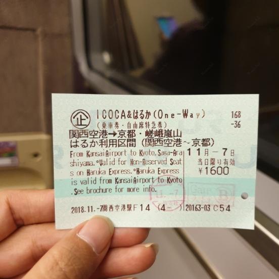 บัตรฮารุกะ เที่ยวเดียว จากสนามบินคันไซ ไป เกียวโต แบบไม่ระบุที่นั่ง